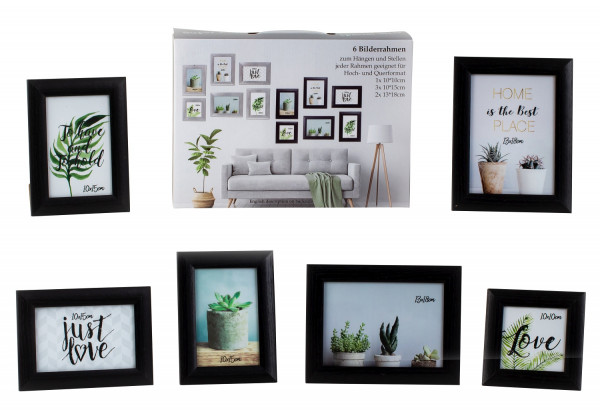 Modern picture frame photo frame set 6-piece for standing and hanging including gift box black