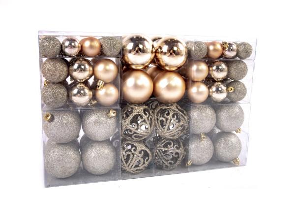 Exklusives Weihnachtskugeln Christbaumkugeln SET mit 100 Stück Farbe Champagner