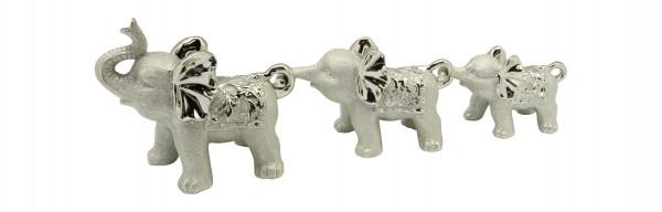Wunderschönes Skulpturen Set Dekofiguren Set Elefanten 3 Stück aus Keramik champagner/silber Länge 5