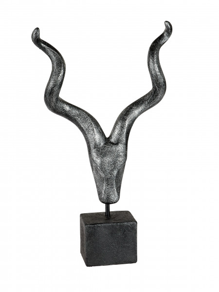 Modern sculpture deco figure on base antique silver height 55 cm