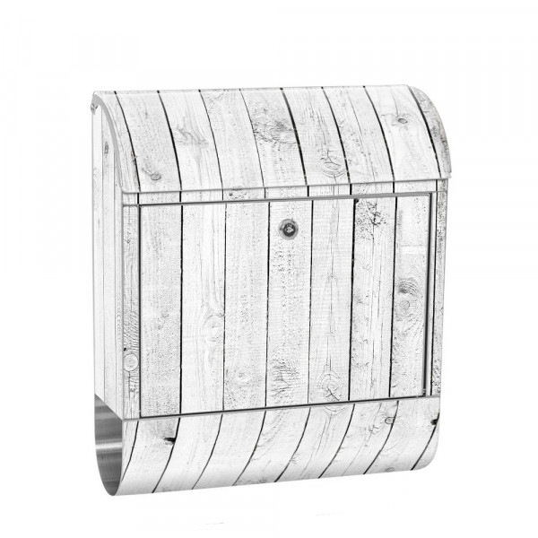 Stainless Steel Letterbox with Newspaper roll & Motif Wood Optics white Wood | No. 0085