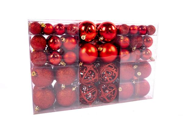 Exklusives Weihnachtskugeln Christbaumkugeln SET mit 100 Stück Farbe Rot