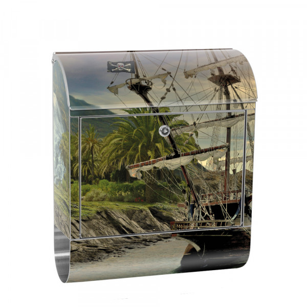 Stainless Steel Letterbox with Newspaper roll & Motif sailing Ship Waterfall | No. 0562