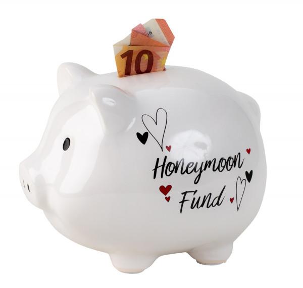 Sparschwein Spardose lustiges Schwein Honeymoon Fund aus Keramik weiß 18x14 cm