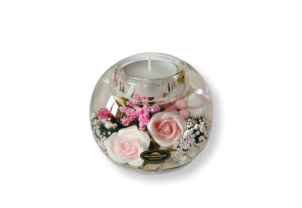 Modern tealight holder lantern holder made of glass with roses diameter 9 cm * Exclusive handcraft from Germany *