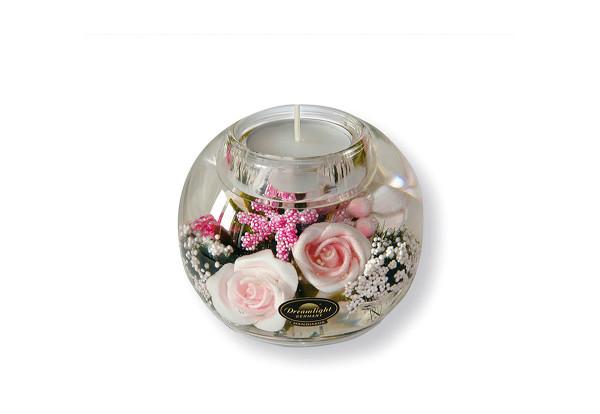 Moderner Teelichthalter Windlichthalter aus Glas mit Rosen Durchmesser 9 cm *Exklusive Handarbeit au