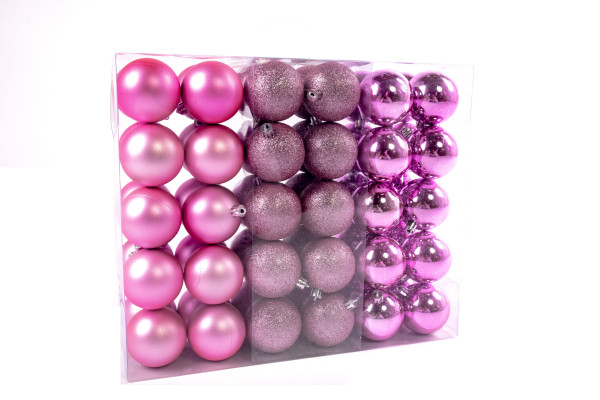 Large Christmas Baubles Set 61 pieces Ø 6 cm Pink including star lace Christmas tree decorations