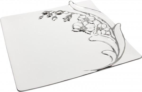 Moderne Dekoschale Obstschale 'Sophia' aus Keramik weiß/silber 32x33 cm