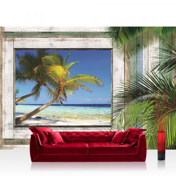 Vlies Fototapete Meer Tapete Holzwand Holz Fenster Palme Strand Meer blau