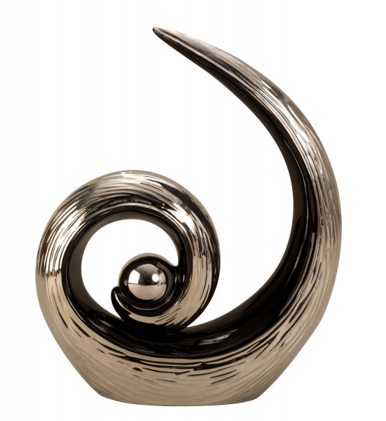 Modern sculpture with ball of ceramics schwaz / silver Height 28 cm Width 22 cm
