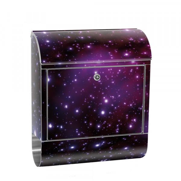 Edelstahlbriefkasten mit Zeitungsrolle & Motiv Galaxy Sterne Weltraum | no. 0499