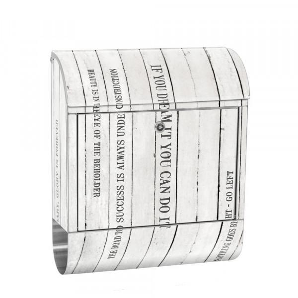Edelstahlbriefkasten mit Zeitungsrolle & Motiv Holzoptik Paneel weiß | no. 0125