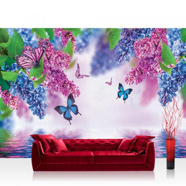 Vlies Fototapete Blumen Tapete Flieder Schmetterling Blume Wasser lila