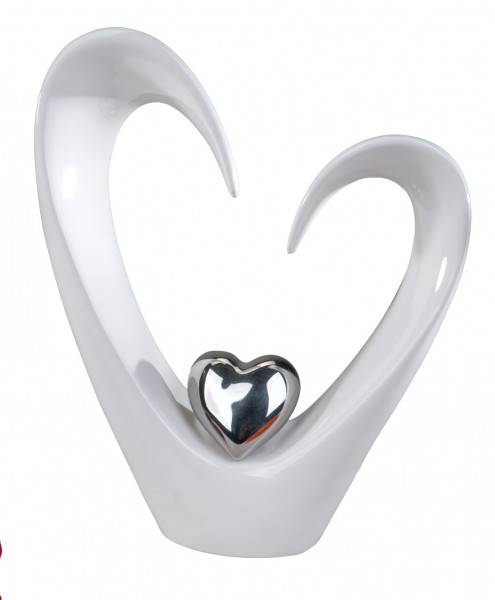 Beautiful decorative heart made ??of ceramic white Height: 25 cm