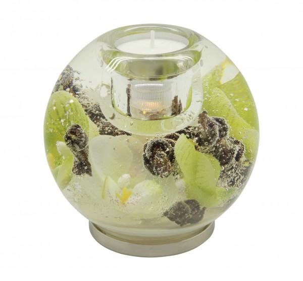 Moderner Teelichthalter Windlichthalter aus Glas 10x11 cm inklusive LED Licht *Exklusive Handarbeit