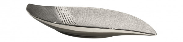 Modern decorative bowl fruit bowl ceramic silver / gray length 48.5 cm width 16.5 cm