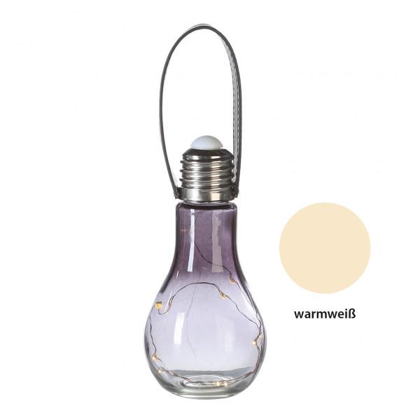 Moderne und exklusive Dekoleuchte Glühbirne aus Glas grau inkl. 10 LED´s Höhe 18 cm