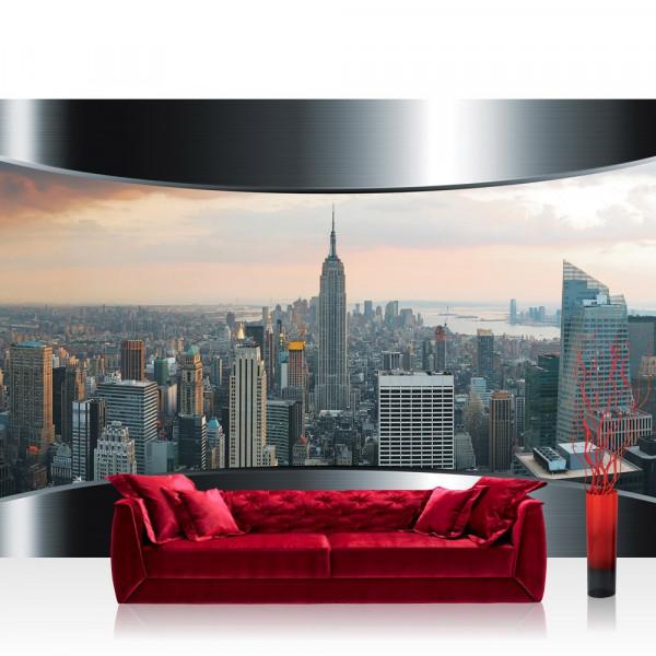 Vlies Fototapete Skylines Tapete Stadt Panorama Tower Rahmen grau