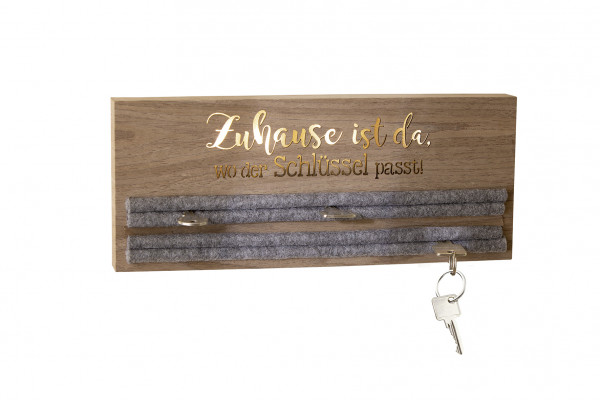 LED key board / key holder with slogan illuminated MDF wood brown 3x34x14 cm (TxBxH)