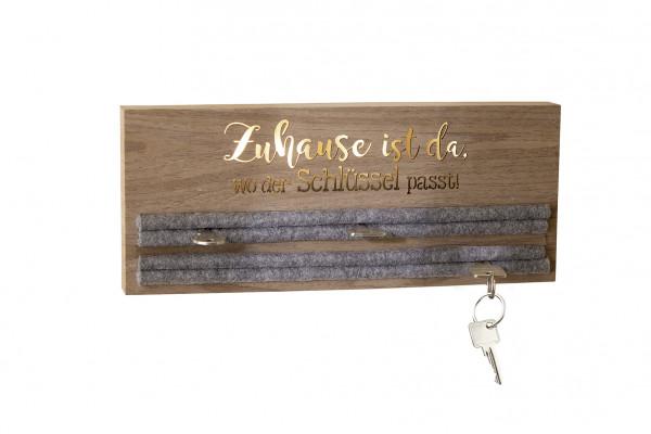 LED Schlüsselbrett/Schlüsselhalter mit Spruch beleuchtet aus MDF Holz braun mit Filzeinlage Grau Hal
