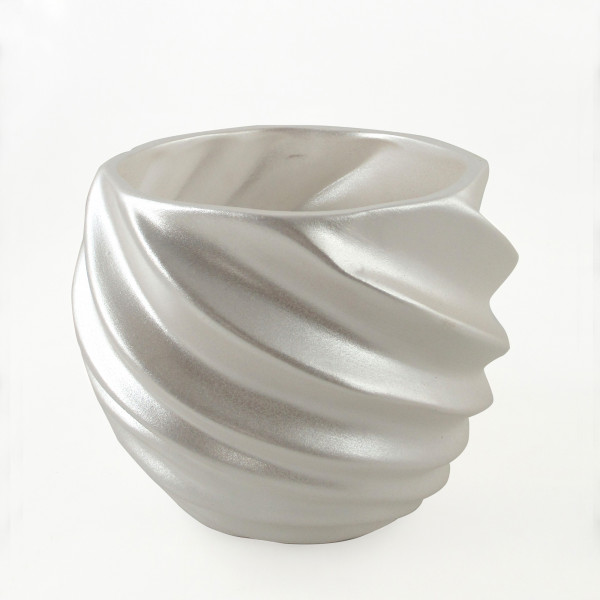 Planter planter Vase for flowers made of ceramic in the color white 21x21x17 cm