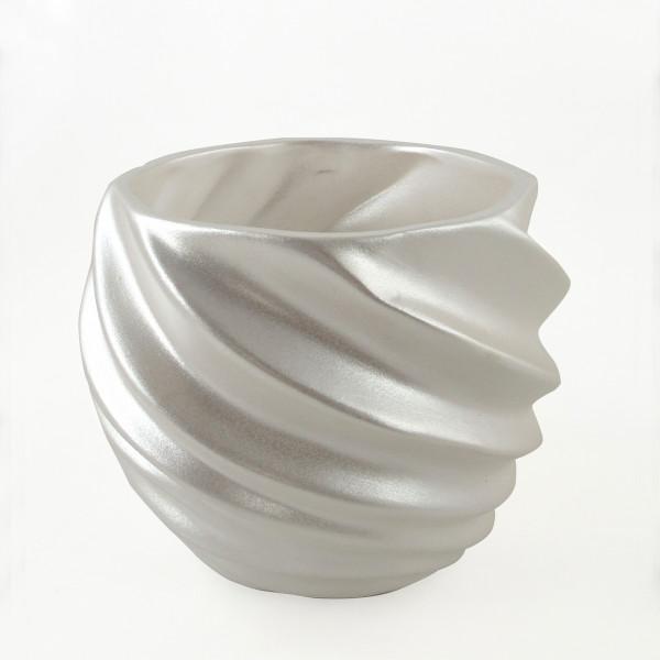 Übertopf Pflanzengefäß Vase für Blumen aus Keramik in der Farbe weiß 21x21x17 cm