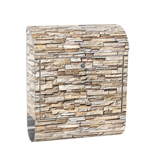 Stainless Steel Letterbox with Newspaper roll & Motif stone wall Stone Optics | No. 0147
