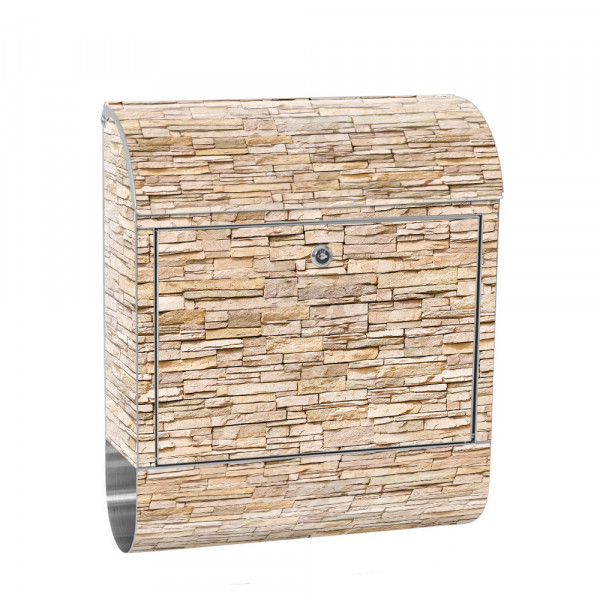 Stainless Steel Letterbox with Newspaper roll & Motif Small Stones beige | No. 0078