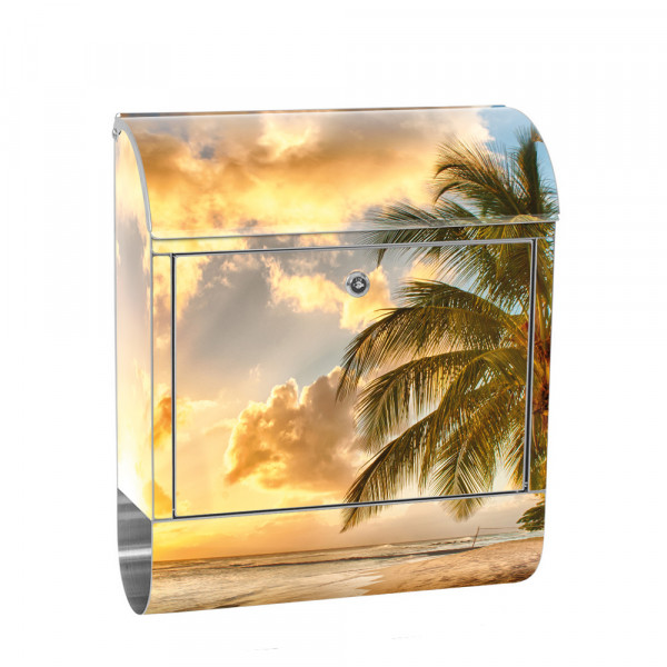 Stainless Steel Letterbox with Newspaper roll & Motif beach Sunrise | No. 0042