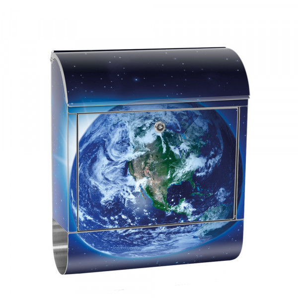 Stainless Steel Letterbox with Newspaper roll & Motif Earth Space Planet | No. 0231