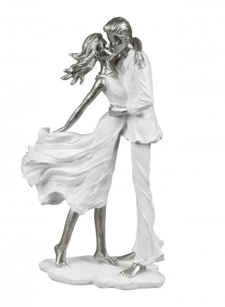 Moderne Skulptur Dekofigur Liebespaar auf Sockel weiß/Silber Höhe 36 cm *1 Stück*