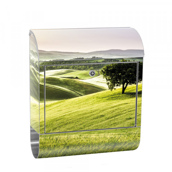 Stainless Steel Letterbox with Newspaper roll & Motif Field nature mountains Sun | No. 0243