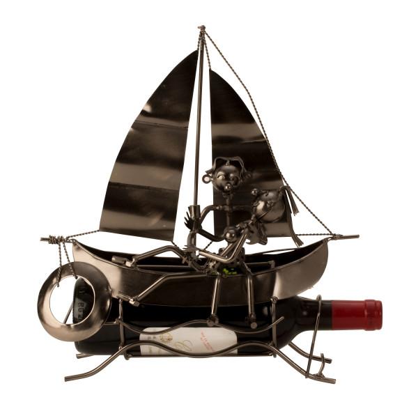 Contemporary wine bottle rack bottle holder sailboat metal silver height 34 cm