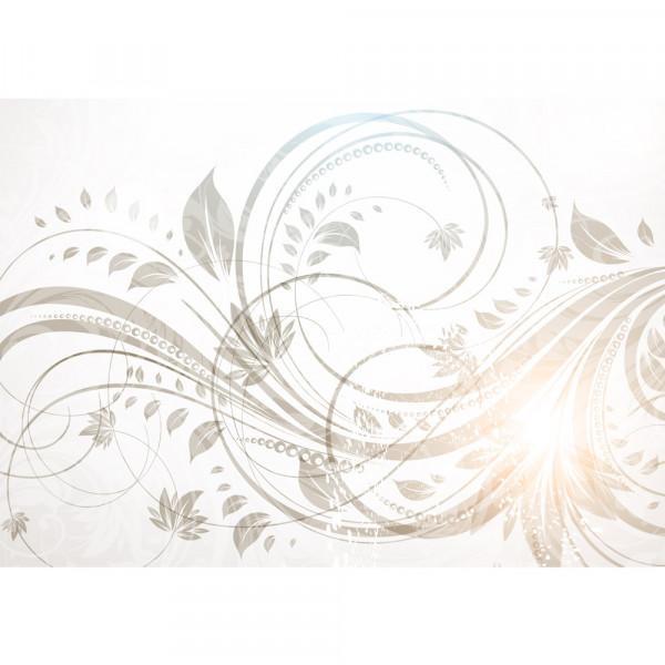Vlies Fototapete Floral Ornaments - Reflexion Ornamente Tapete Orchidee Blumen Blumenranke Weis