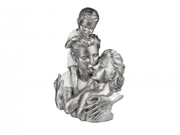 Moderne Skulptur Dekofigur Büste Familie mit Baby weiß/silber Höhe 35 cm Breite 25 cm