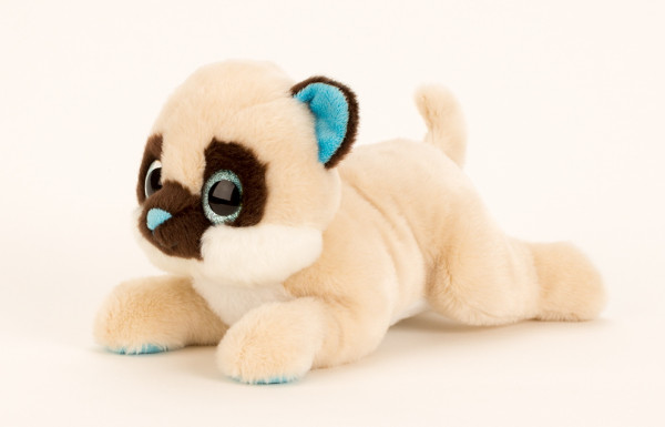 Cuddly sweet cat with big eyes in beige length 27 cm