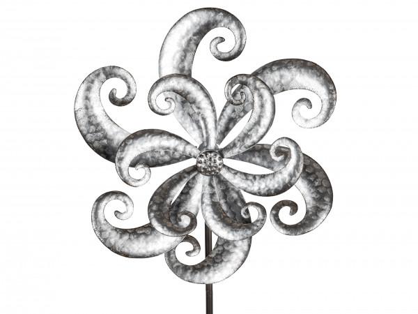 Windspiel Windrad Blüte silber aus Metall mit tollem Effekt Länge 140 cm Durchmesser 38 und 24 cm.