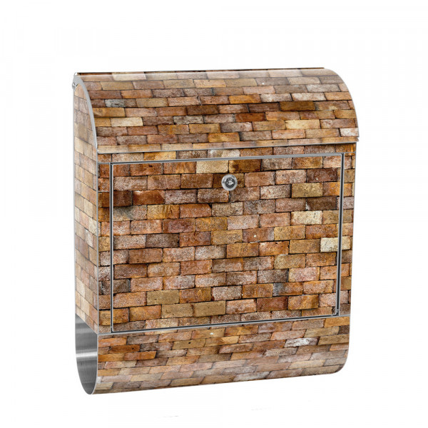Stainless Steel Letterbox with Newspaper roll & Motif stone Stone Optic Wall | No. 0170