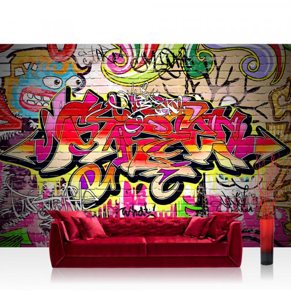 Vlies Fototapete Graffiti Tapete Kinderzimmer Graffiti Streetart Graffitti Sprayer 3d Bunt Braun