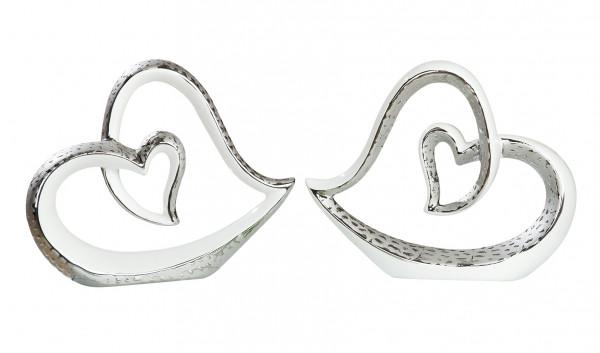Moderne Skulptur Dekofigur Herz im Herz aus Keramik weiß/silber mit Struktur 25x20 cm