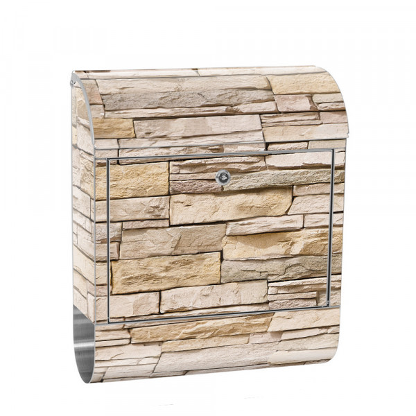Stainless Steel Letterbox with Newspaper roll & Motif stone wall Stone Optics | No. 0129