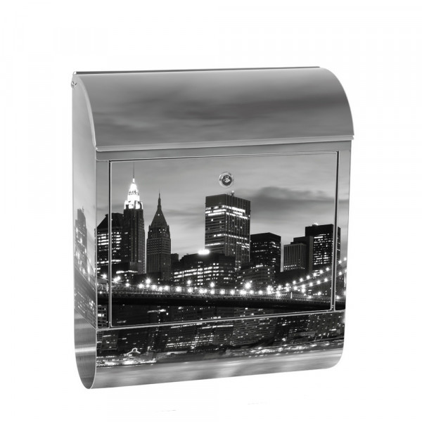 Edelstahlbriefkasten mit Zeitungsrolle & Motiv New York Bridge | no. 0269