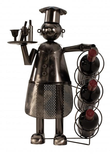 Moderner Weinflaschen Ständer KOCH aus Metall Höhe 53cm Breite 36cm (für 3 Flaschen)
