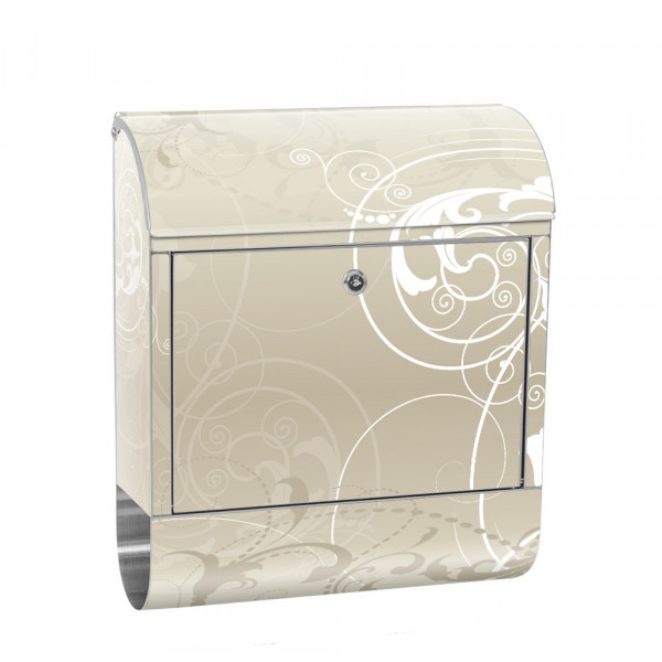 Stainless Steel Letterbox with Newspaper roll & Motif Beige Ornament | No. 0017
