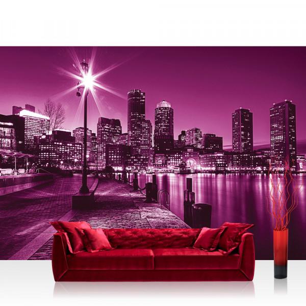Vlies Fototapete New York Tapete Laterne Nacht Skyline Lichter Fluss lila