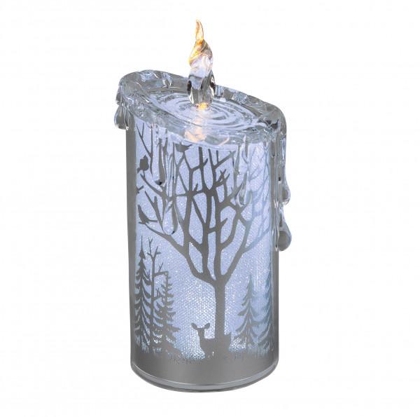 Moderne LED Kerze Flammenlose Kerze aus Acryl silber Dekorations-Kerzen-Säulen Realistisch flackernd