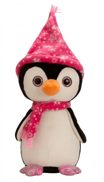 Cuddly soft penguin with cap and scarf pink Height 40 cm velvety Soft cuddly toy