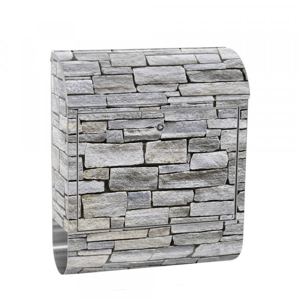 Stainless Steel Letterbox with Newspaper roll & Motif stone Stone Optic Wall | No. 0162