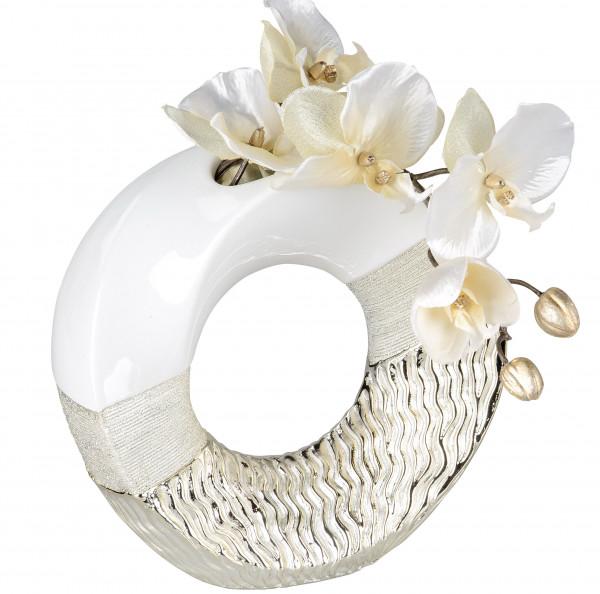 Moderne Dekovase Blumenvase Tischvase Vase aus Keramik weiß gold glänzend und matt 23x23 cm
