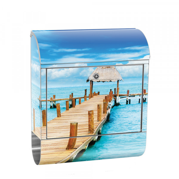 Stainless Steel Letterbox with Newspaper roll & Motif beach Baltic Sea North Sea | No. 0159